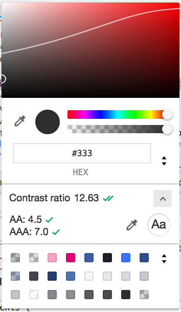 Chrome開発者ツールのスクリーンショット。コントラスト比情報表示状態。